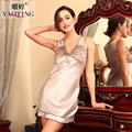 nightdress silk women sleepshirts satin nightgowns femme lace print sleepwear female summer night dress adult sleeveless nighty