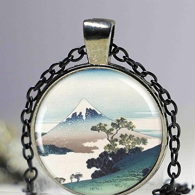 Holiday gift Japanese Art Cuff Links,Hokusai Art Cufflinks,Snow Capped Mt Fuji Art,Mountain Pass Hiking Charm,Resin Cuff Links.HTY-326