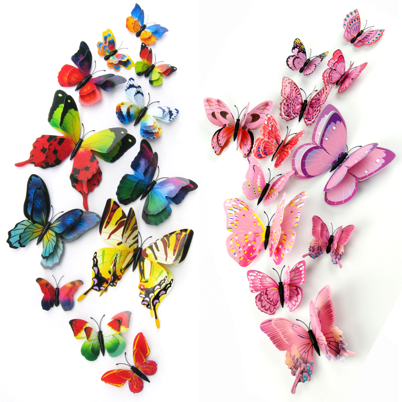 12pcs/set Double Layer Wing 3D Artificial Butterfly Magnet Fridge Decor Wall Stickers with Glue Home Party New Year Decoration