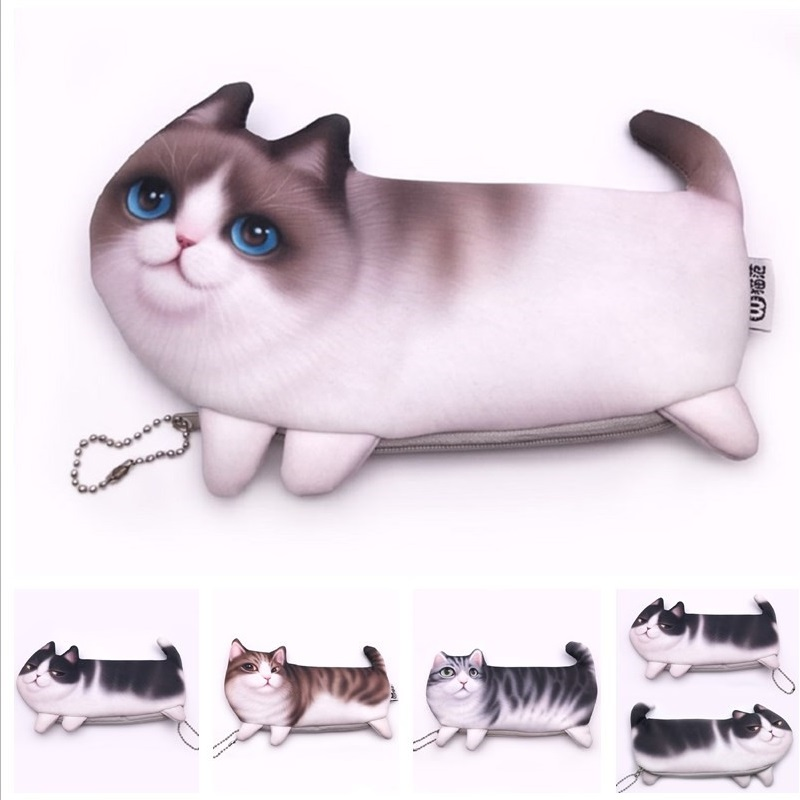 bb7e192fd3180 New Cute Cat  Dog Face Printed Zipper Coin Purses For Kids Students Pencil  case Wallet Bag