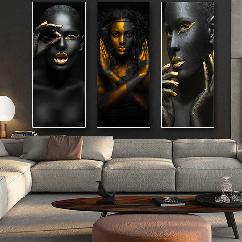 Black and Gold African Nude Woman Cuadros Canvas Painting Posters and Prints Scandinavian Wall Art Picture for Living Room Decor