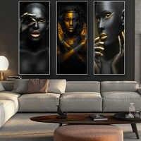 Schwarz und Gold Afrikanische Nude Frau Cuadros Leinwand Malerei Poster und Drucke Skandinavischen Wand Kunst Bild für Wohnzimmer Dekor