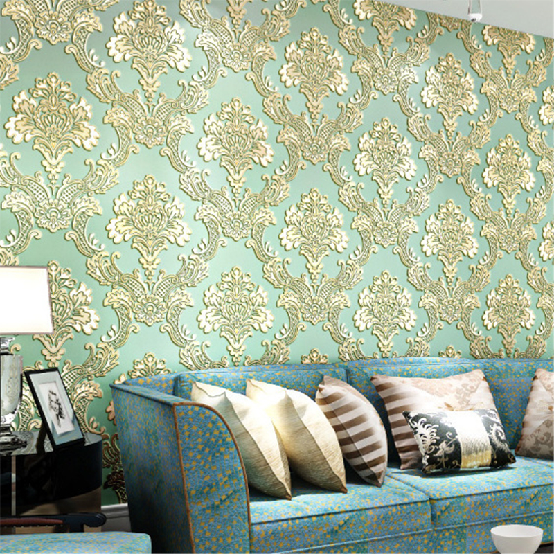 beibehang Simple 3D stereoscopic relief European non-woven wallpaper Damascus living room bedroom TV background wallpaper
