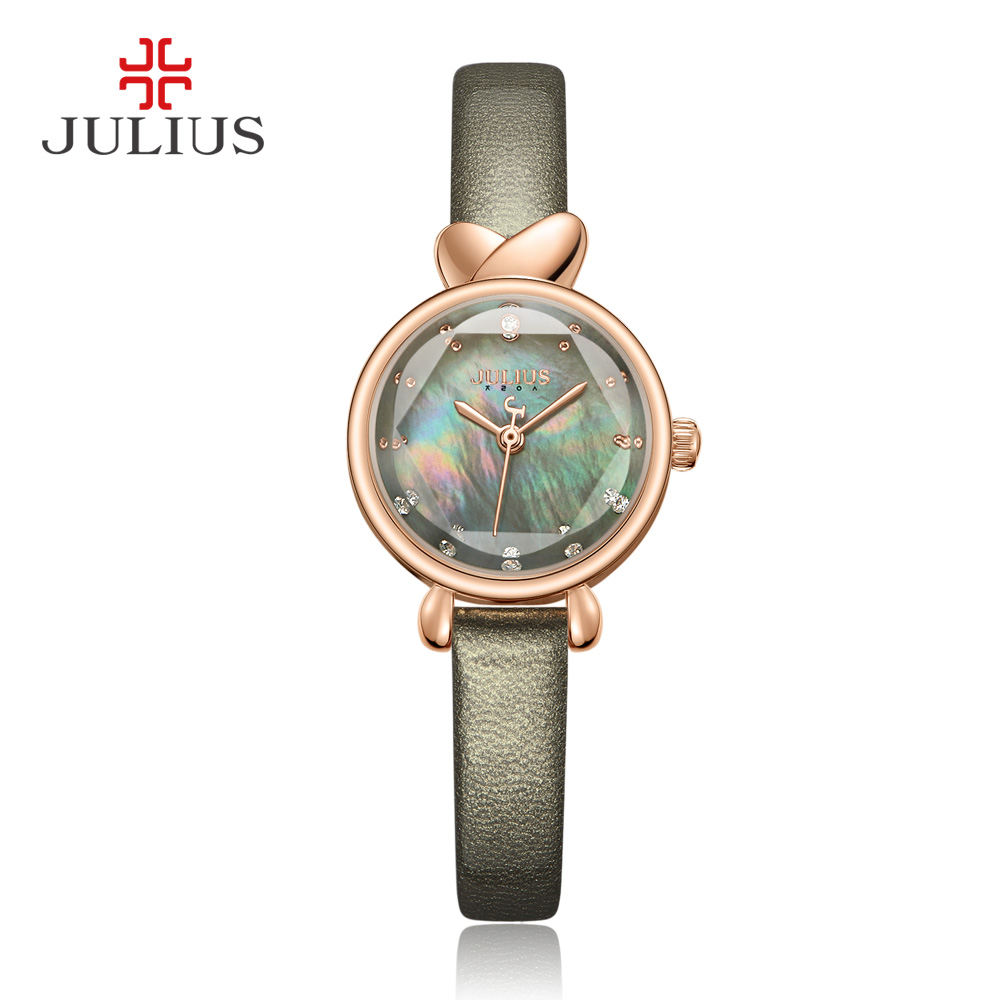 Julius 2017 Watches Women Round Sparkling Shell Dial Exquisive Elegant GF Gift Leather Strap Luxury Whatch Dropshipping JA-1014