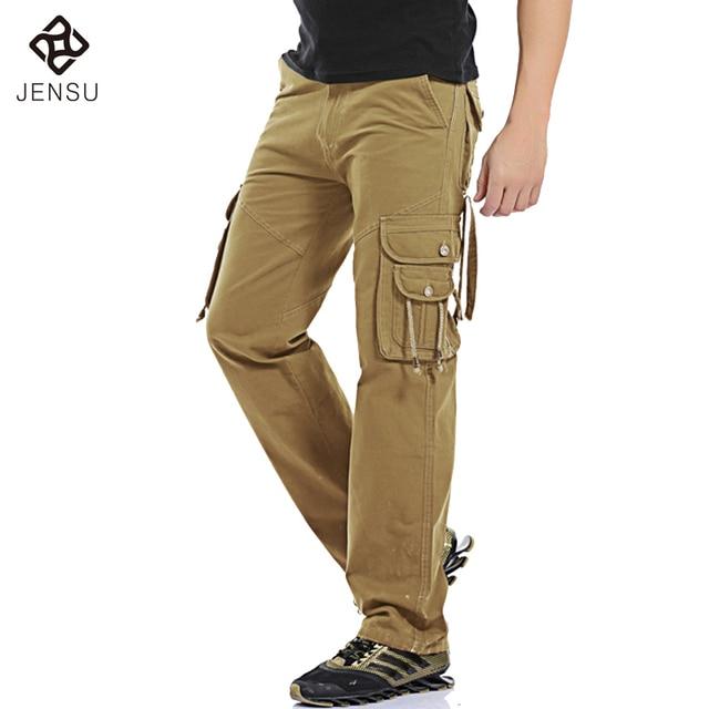2016 New Men Casual Long Pants Trousers Cargo Pants Men's Casual Fashion Slim Fit Large Size Multi Pocket Male Pants Overalls