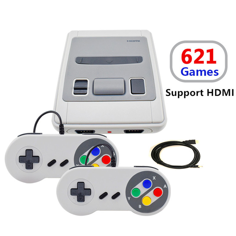 Mini TV Handheld Game Console Video Console With 2 Gamepads For NES Classic Games HDMI Out Built-in 621 Different Games