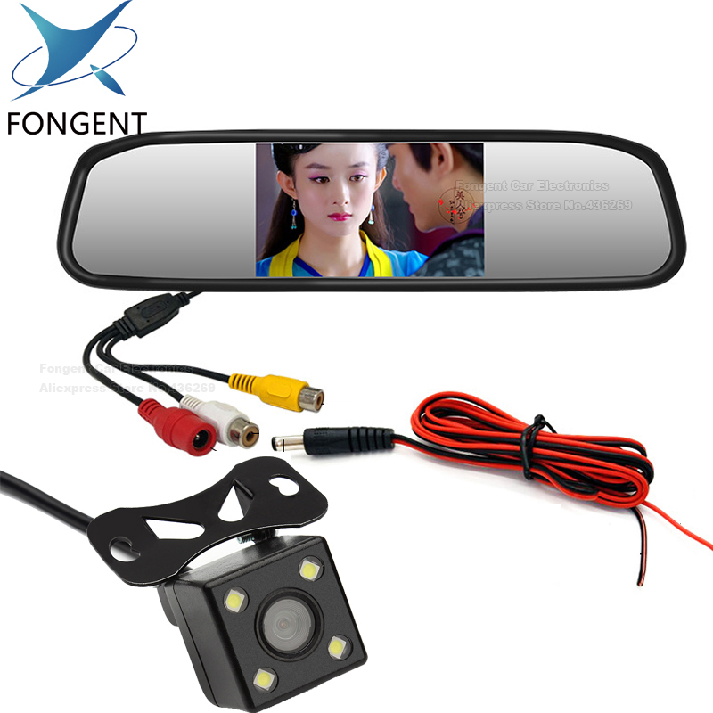 Fongent 4.3 TFT LCD Auto Parking Rear View 4.3 Inch Car Mirror Monitor With 2 Video input For Rear View Camera Parking Sensor 3 in 1 monitor parking camera video system 7 inch rear view mirror monitor with back up mini camera with 4 sensor radar parking