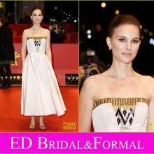 Natalie Portman Kurze Abendkleid zu 2015 Berlin Film Festival Premiere Roter Strapless Pailletten Satin Formale Kleid