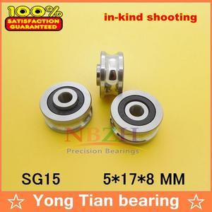 Image 1 - Livraison gratuite 20 pièces SG15 2RS U rainure poulie roulements à billes 5*17*8*9.75mm roulement à rouleaux de guidage de piste SG5RS V17