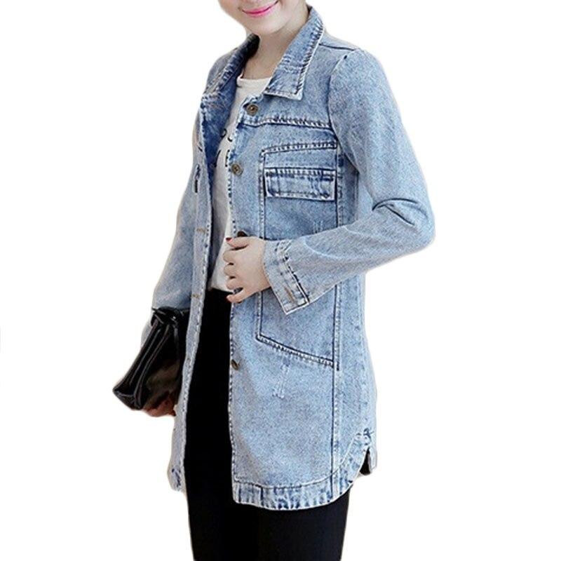 Autumn Winter Korean Denim Jacket Women Slim Long Base Coat Women s Frayed Navy Blue Plus Autumn Winter Korean Denim Jacket Women Slim Long Base Coat Women's Frayed Navy Blue Plus size Jeans Jackets Coats Cool 5XL A364