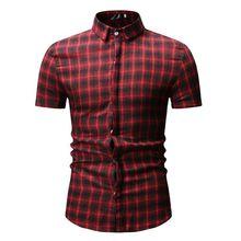4d8d3414755 GUMNHU Men's summer Daily Tartan Pullover Fastener Sweatshirts Top Blouse  short Sleeve Shirt Men Plaid Cotton