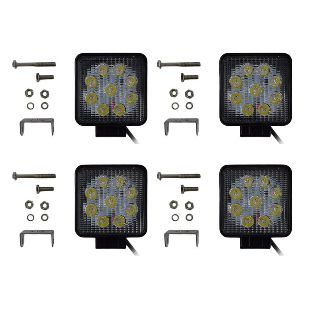 4 pçs/set Quadrado 27 W CONDUZIU a Luz do Trabalho Baixo Consumo de Energia do Ponto luz de nevoeiro Luz de Condução com 9 LEDs Para Jeep Truck Boat ATV