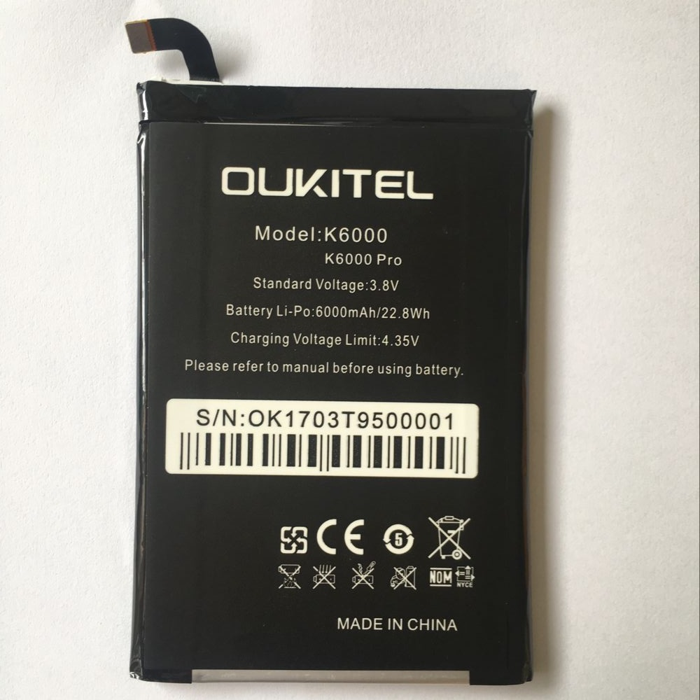 Oukitel K6000 Pro Battery Replacement Original Large Capacity 6000mAh Back Up Batteries For Oukitel K6000 Pro