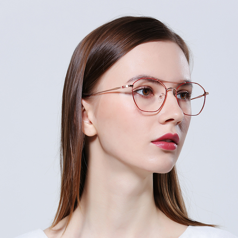 XIWANG New Korean Version Of The Full-Frame Flat Glasses For Ladies Classic Round Metal Frame Light Myopic Spectacles