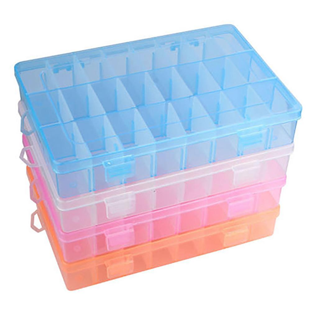 24 Compartments Plastic Box Jewelry Bead Storage Container Craft Organizer Earrings Necklace Beads Jewelry Beads Storage Trinket