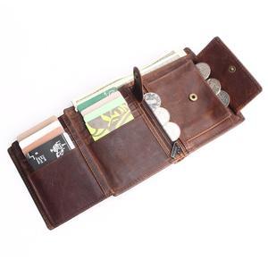 Image 4 - Vintage designer 100% genuíno carteiras masculinas couro dos homens curto carteira bolsa titular do cartão moeda bolso masculino carteiras