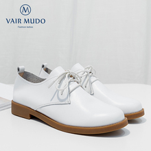 VAIR MUDO Sweet Fashion New Low Heel Leisure Shoes women Shoes Cow Leather Top Quality Handmade Genuine Leather Lady shoes D13L vallu buckle strappy women s flat shoes 2018 handmade real cow leather lady flats new arrival female leisure shoes