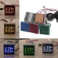 AC 60-500V Square LED Digital Voltmeter Ammeter 22mm Signal Lights Volt Voltage Ampere Current Meter Indicator Tester Measuring