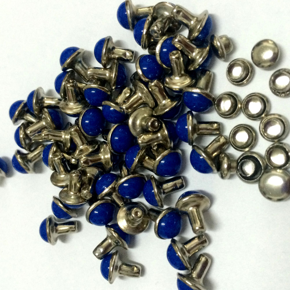 100PCS/Lot 6.5mm Round Royal Blue Acrylic Rivets Leather Craft Punk - Arts, Crafts and Sewing - Photo 2