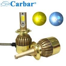 Carbar# Dual Color LED Headlight H7 Car LED Headlamp Light Two Color 3000K 6000K LED Bulb H1 H3 H4 H7 H8 H11 9005 9006 880 881
