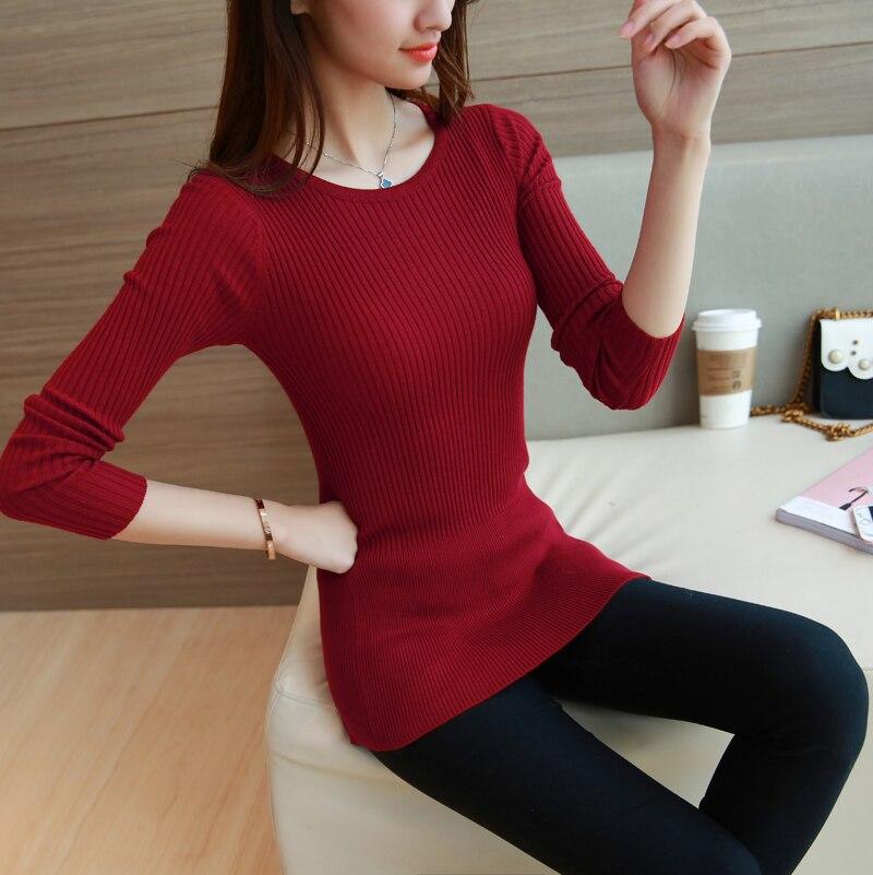 Señoras tee shot manga larga en la fina gruesa camisa a rayas camisa suéter 20 d