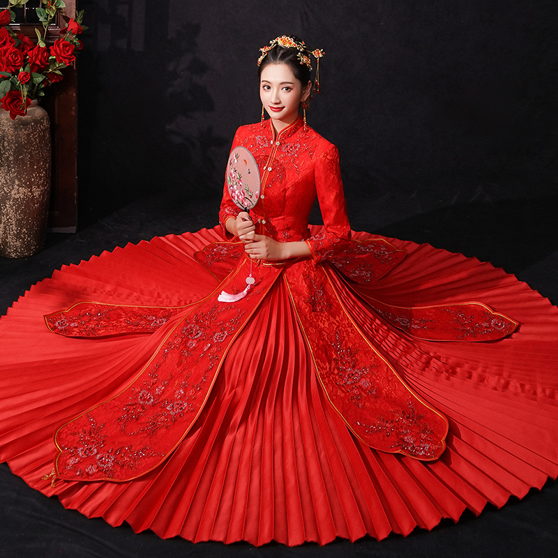 Classic Embrdery Chinese Female Cheongsam Marriage Suit RED Asian Bride Wedding Party Dress Traditional Oriental Qipao S-XL