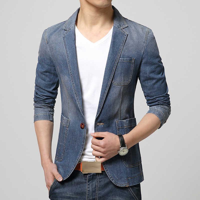 Marke Neue Mode Männer Blazer Trend Jeans Anzüge Casual Anzug Jean Jacke Männer Slim Fit Denim Jacke Männer Casual Frühling slim Fit Mantel