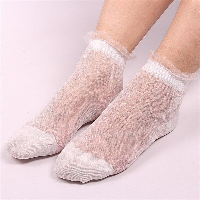 10 Pairs/Lot Fashion Shinny Silk Lace Socks for Women Summer Ultrathin Transparent Short Socks Female Elatic Black Lace Socks