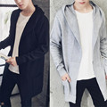 Harajuku Fashion Style Extend Long Cardigan Men Solid Black Sweater Autumn Winter Warm Pull Homme Special Cool Sweater 3XL