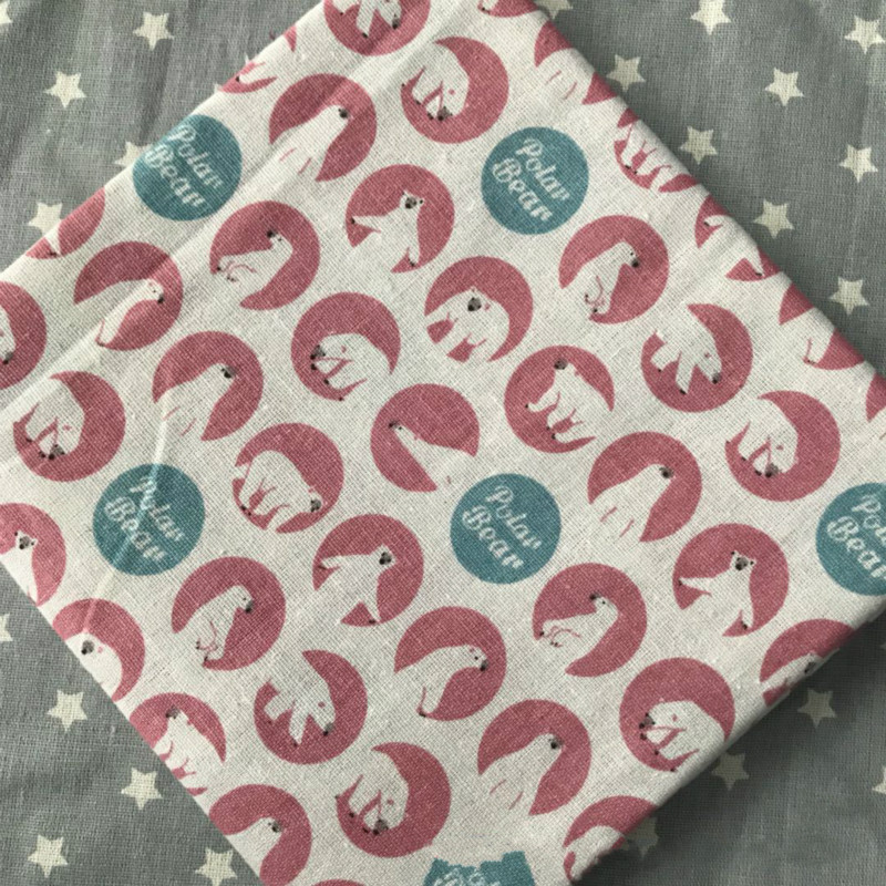 Lovely Animal Printed Linen Cotton Patchwork Fabric Telas Sewing For DIY Carfts Material Cloth