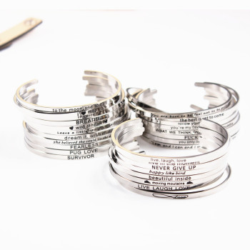 50Pcs/lot Mix Random Stainless Steel Engraved Positive Inspirational Quote Hand imprint Cuff Bracelet Rose Gold Mantra Bangle