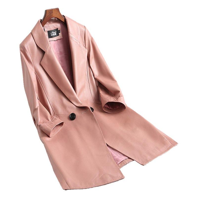 Naturel Vêtements red Femmes Réel De Printemps Tranchée Véritable Manteau Mouton Automne pink Tcyeek Cuir Outwear En Femelle Veste Peau Black Lwl1471 Montone 01Tzw