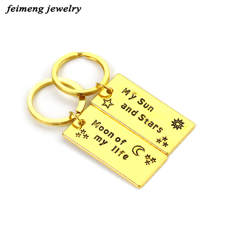 Game of Thrones Keychains Golden Sliver Color My Sun and Stars Moon of My Life Letter For Lovers Couples Best Friend Key Holder