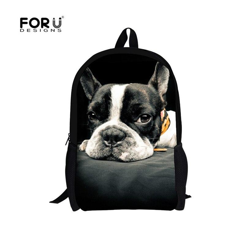 HOT Children Printing Backpacks Violetta Girls School Bags for Teenagers,Female Mochila Animals Bulldog Backpacks,Women Bagpack