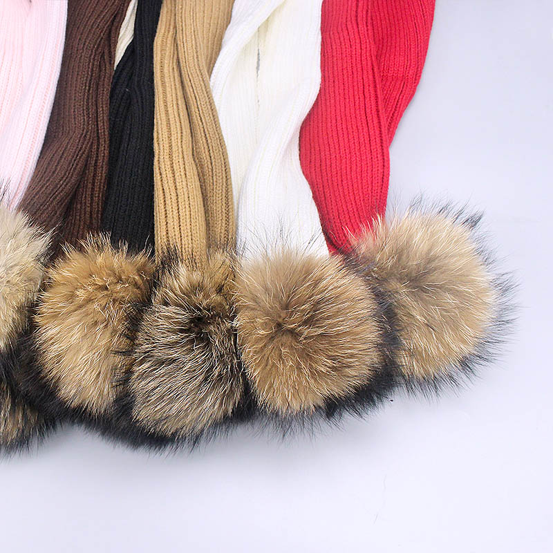 9311a1f401a ... Winter Children s Knitted Raccoon Fur Pom-pom Hats Scarf Two-Piece Mask  Warm And ...