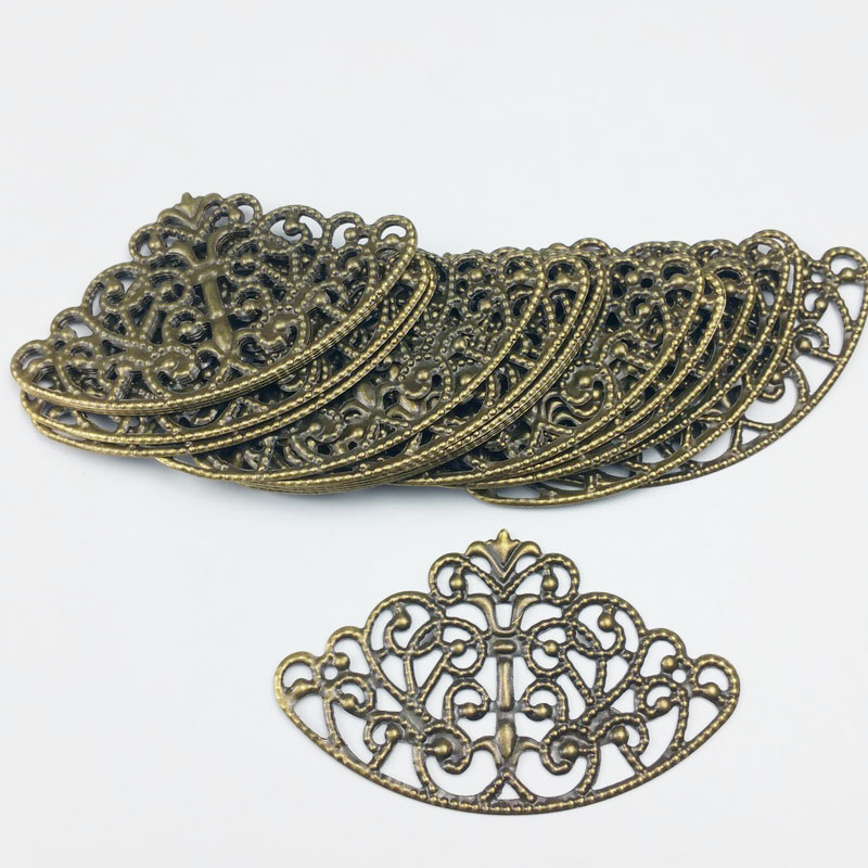40x65mm 20pcs Wholesale Filigree crafts Hollow Embellishments Findings,Jewelry Accessories,Bronze Tone ornaments