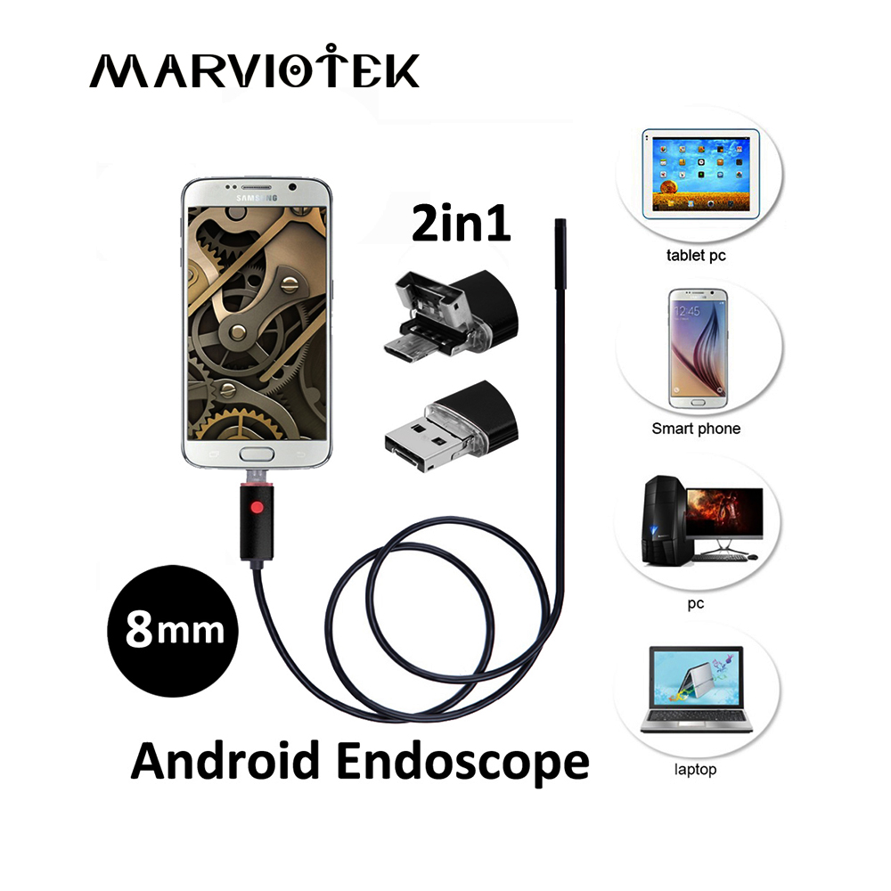 Endoscope 2 in1 USB 2M 5M 10M Android Endoscope Camera Inspection Android Borescope 8MM Lens 6 Led lights PC USB Endoskop Camera 2018 new endoscope android pc usb inspection camera 8mm 2mp 720p hd borescope video cam 6 adjustable led night vision