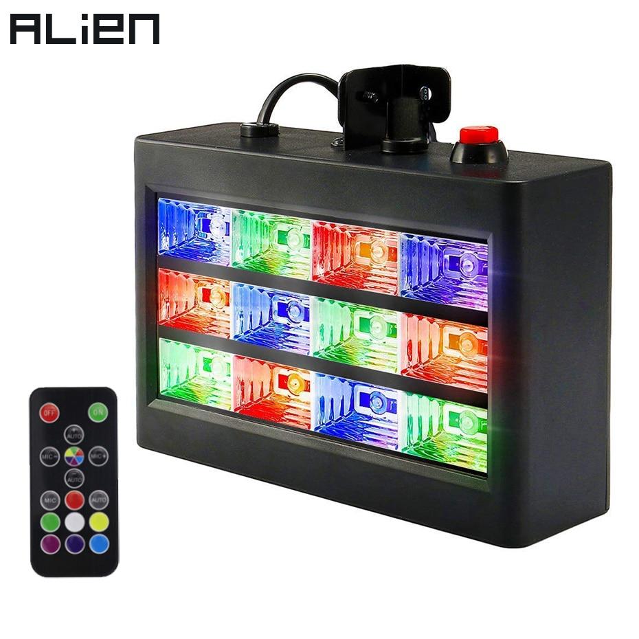 ALIEN Remote Control 12 LED RGB White Strobe Stage Lighting Effect Disco DJ Bar Holiday Party Christmas Flash Sound Active Light цена