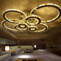 Surface Mounted Moder Led Ceiling Crystal Chandeliers For Lobby Living Room Bedroom Circle Ring Avize Cristals