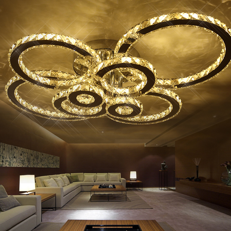 Surface mounted modern led ceiling crystal chandeliers for lobby living room bedroom circle ring avize cristals large chandelier led crystal chandeliers lamp round ring hanging lights modern led crystal chandelier fixture for living room lobby ac110v 240v