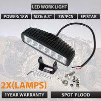 2pcs 6 Inch 18W LED Work Light For Indicators Motorcycle Driving Offroad Boat Car Tractor Truck