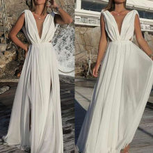 Women Sexy Chiffon White Dress Deep V-Neck Boho Long Party Elegant Gown Dress(China)