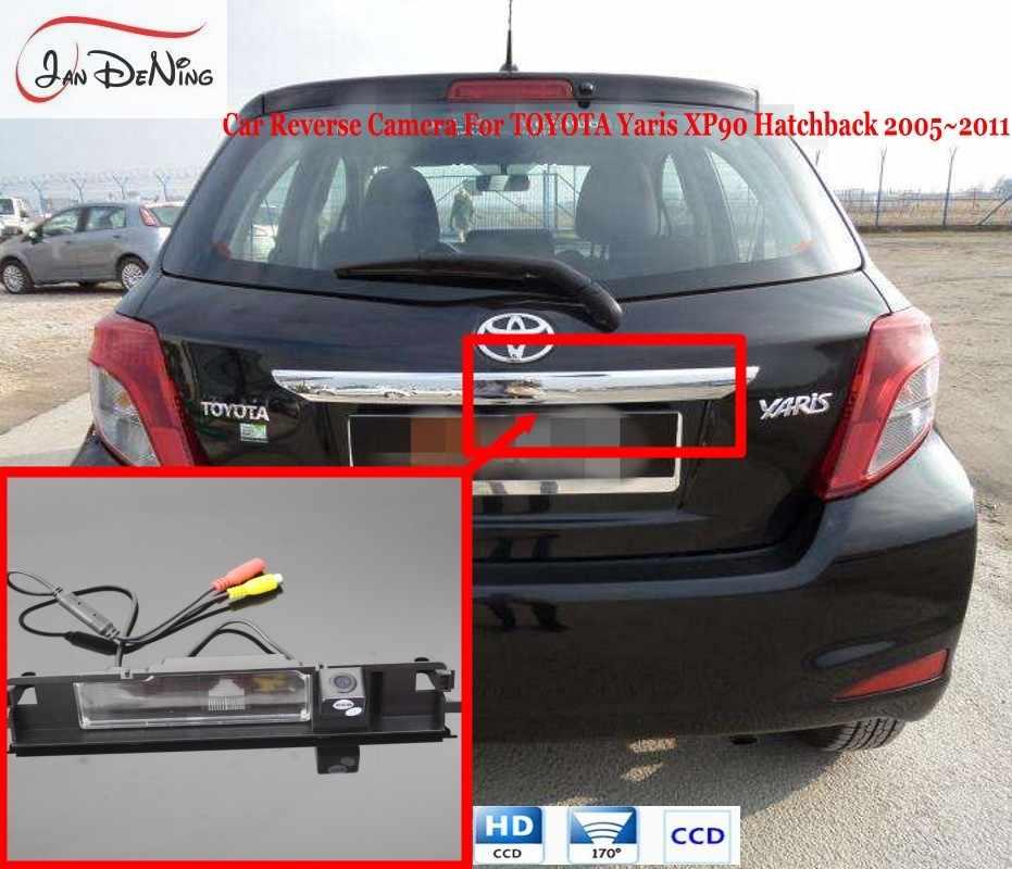 JanDeNing HD CCD Car Rear View Bãi Đậu Xe/Sao Lưu Đảo Ngược Camera/Giấy Phép Mảng Ánh Sáng OEM Cho Toyota Yaris XP90 Hatchback 2005-2011
