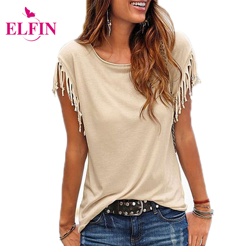 Fashion Women   Blouse     Shirt   Tassel Casual   Blouses   Short Sleeve Solid Color   Shirts   Top O-neck Women's Clothing LJ8470R