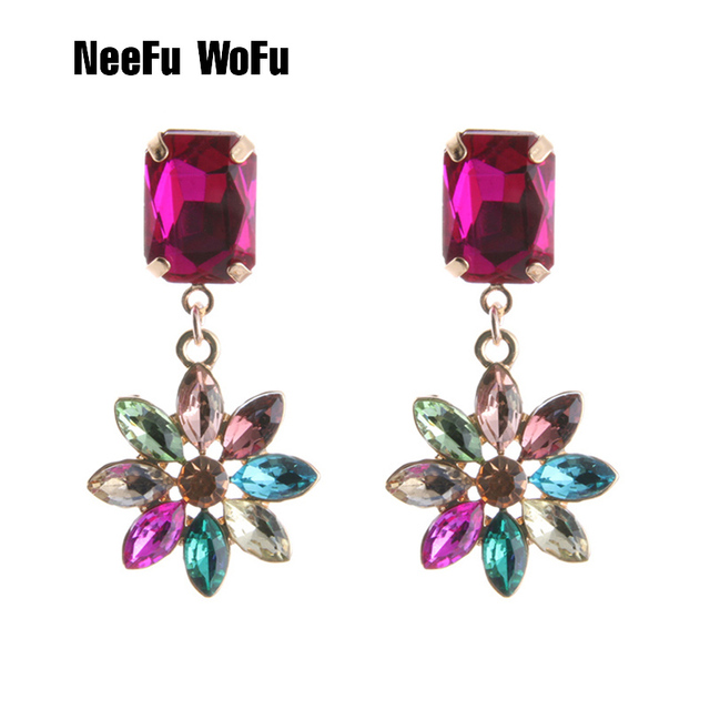 NeeFu WoFu Drop Glass Earring Crystal Flowers Big Earring Dangle Zinc alloy  Large Long Brinco Printing Ear Oorbellen 3605101f736e