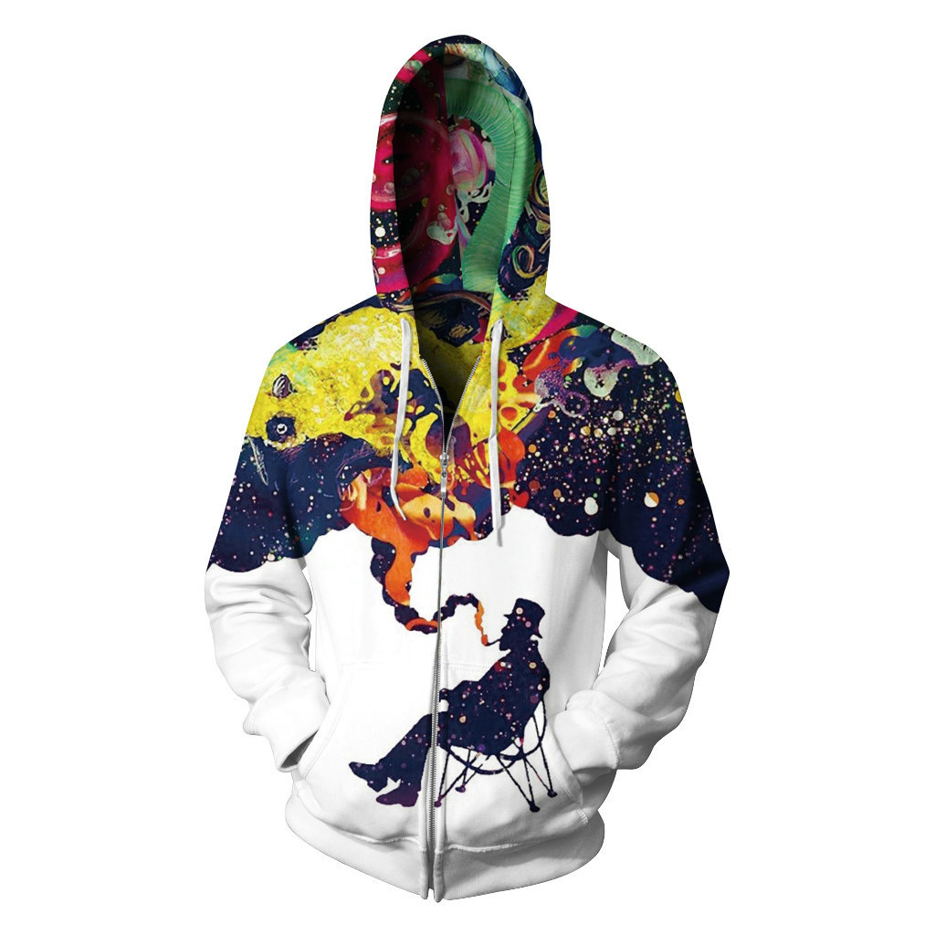 3D Hoodies Zipper Outerwear Cartoon Hooded Sweatshirt Zip Up Hoodie sweatshirts men women