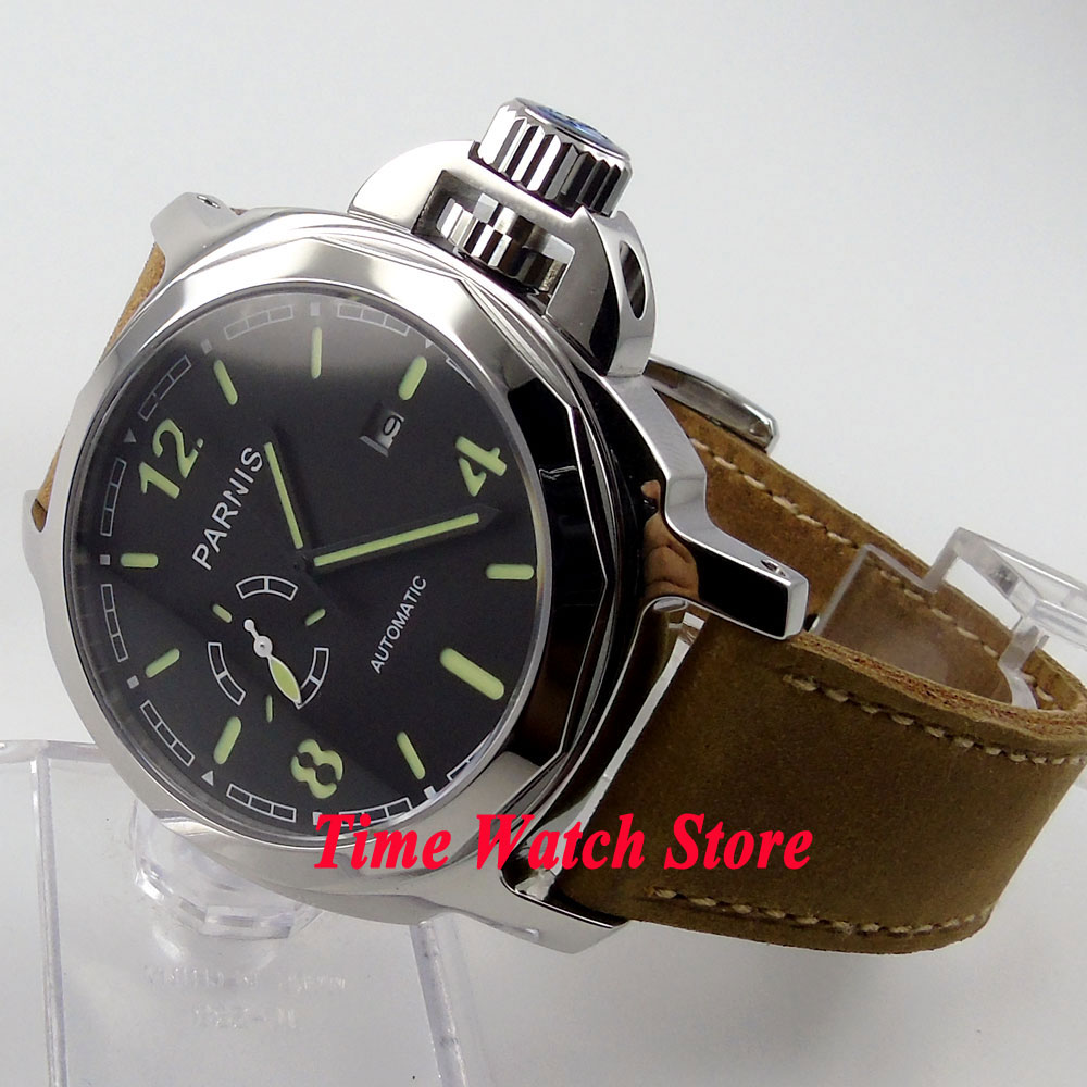 Parnis watch 44mm black sandwich dial luminous 24 hours sapphire glass 21 jewels MIYOTA Automatic movement men's watch 474 44mm planca black dial luminous 24 hours miyota automatic movement men s watch men pl1