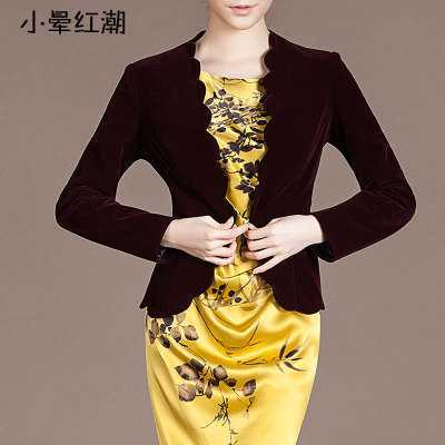 New Arrival High Quality Chic Europe Women's Velvet Blazer Skinny Slim Fit Gold Short OL Jacket Coats Plus Size A4035
