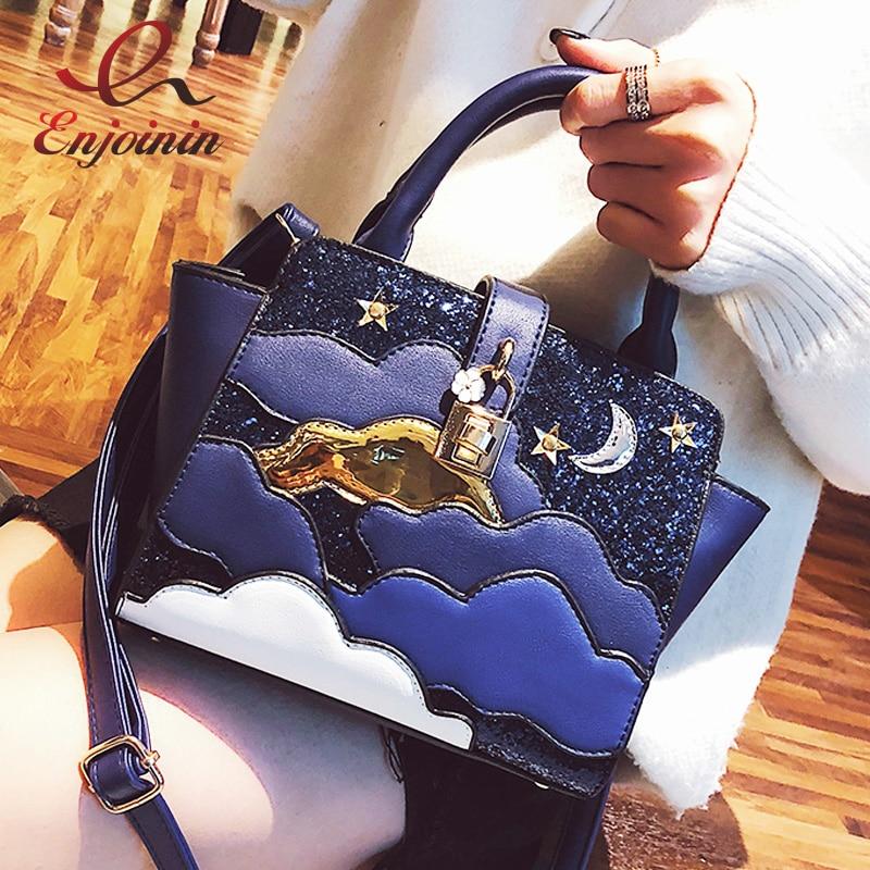 Sequin Star Moon Cloud Pattern Lock Pu Leather Women's Crossbody Messenger Bag Shoulder Bag Tote Bag Bats Female Pouch Handbag