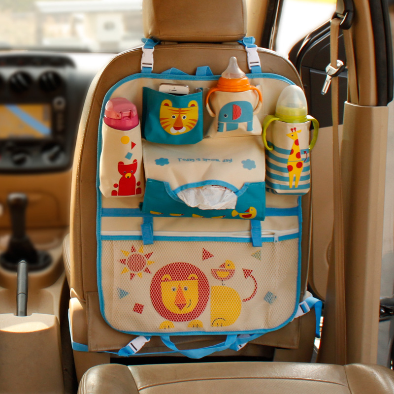 Image 5 - Cute Cartoon Lion Car Organizer Seat Back Storage Bag Hanging Stowing Tidying Baby Kids Travel Universal Auto Multi pocket Bag-in Stowing Tidying from Automobiles & Motorcycles